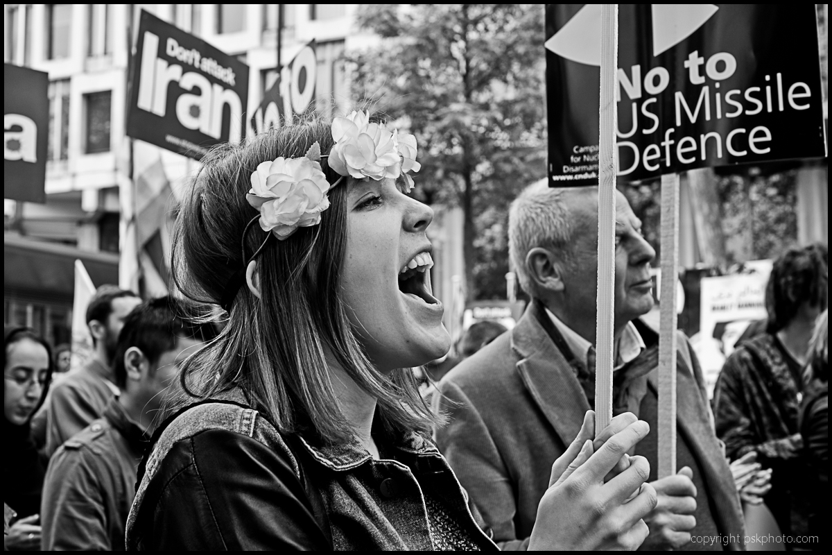 Stop the War Coalition and CND demonstrate outside the US Embassy in London, 2012.