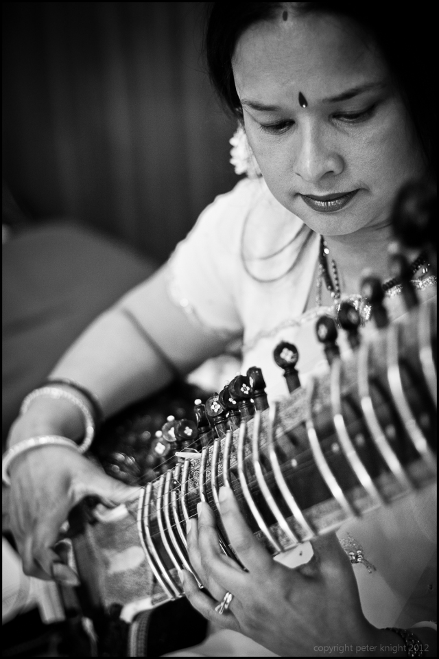 A lady plays the sitar at a Muslim wedding, London, 2011.