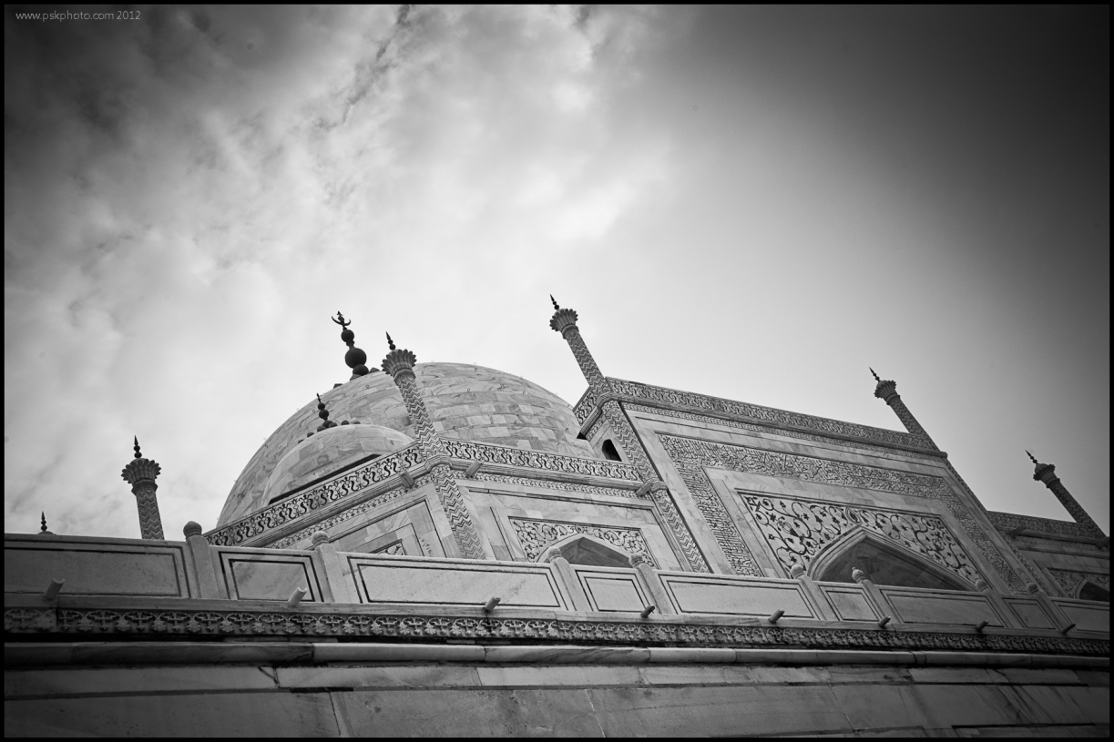 Seen from below and looking up from the front, The Taj Mahal, Agra, India, 2012.