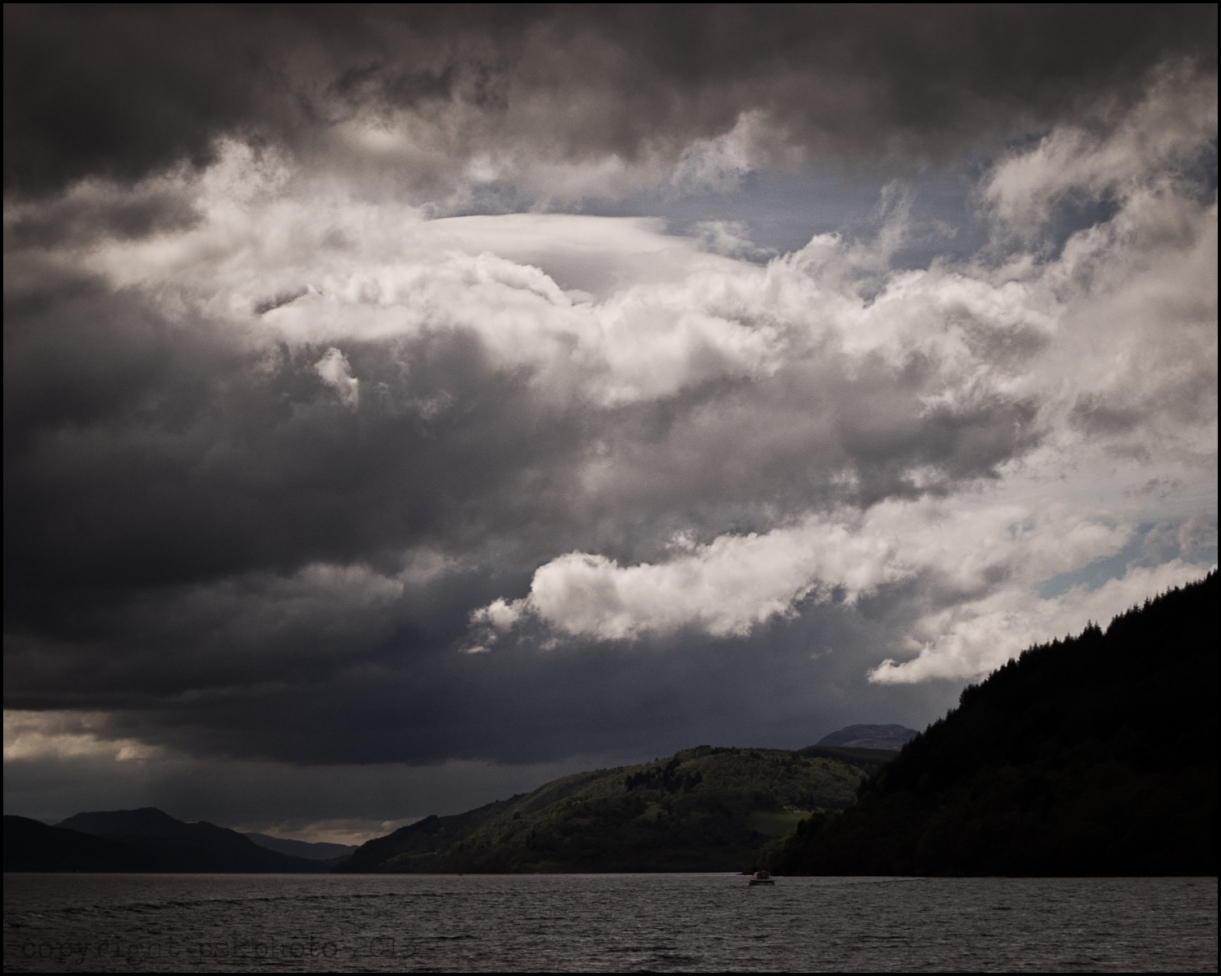 Viewed from a boat, the famous and legendary loch Ness; home of the mysterious Loch Ness Monster, Scotland. 2013
