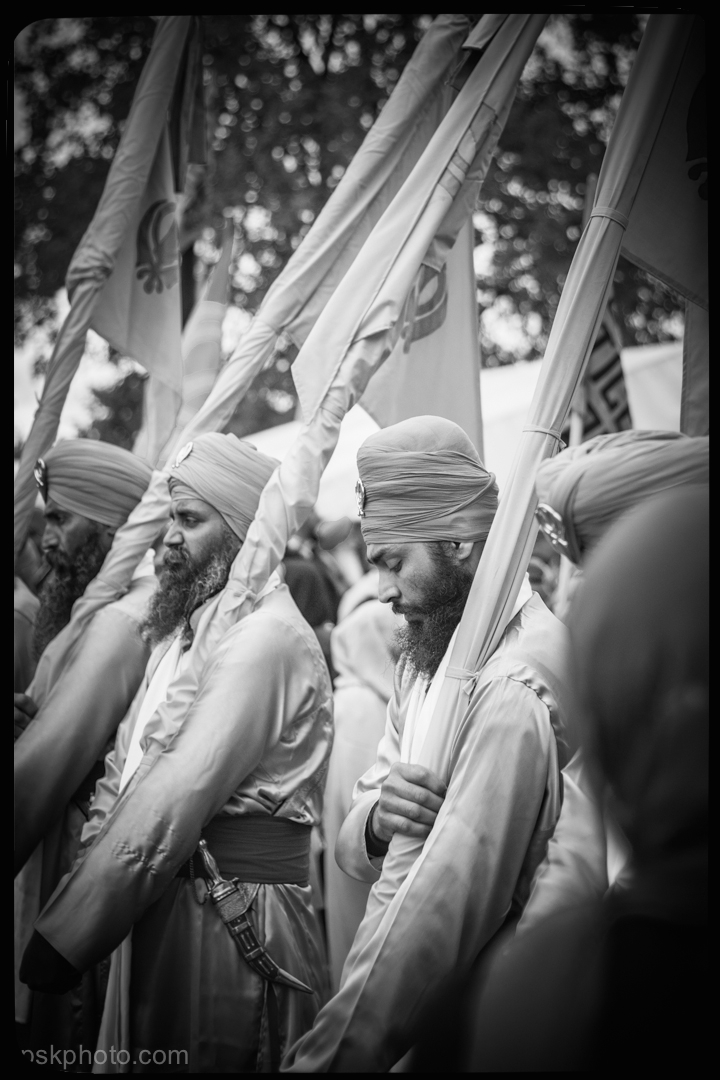"Berkshire UK, 2014, A Sikh holy man plays an important part in the annual Vaisaki Parade. He is one of the ""five beloved"" of the Sikh Guru Gobind Singh Ji. The Parade winds through the streets with a following of thousands, from one Sikh temple to another."