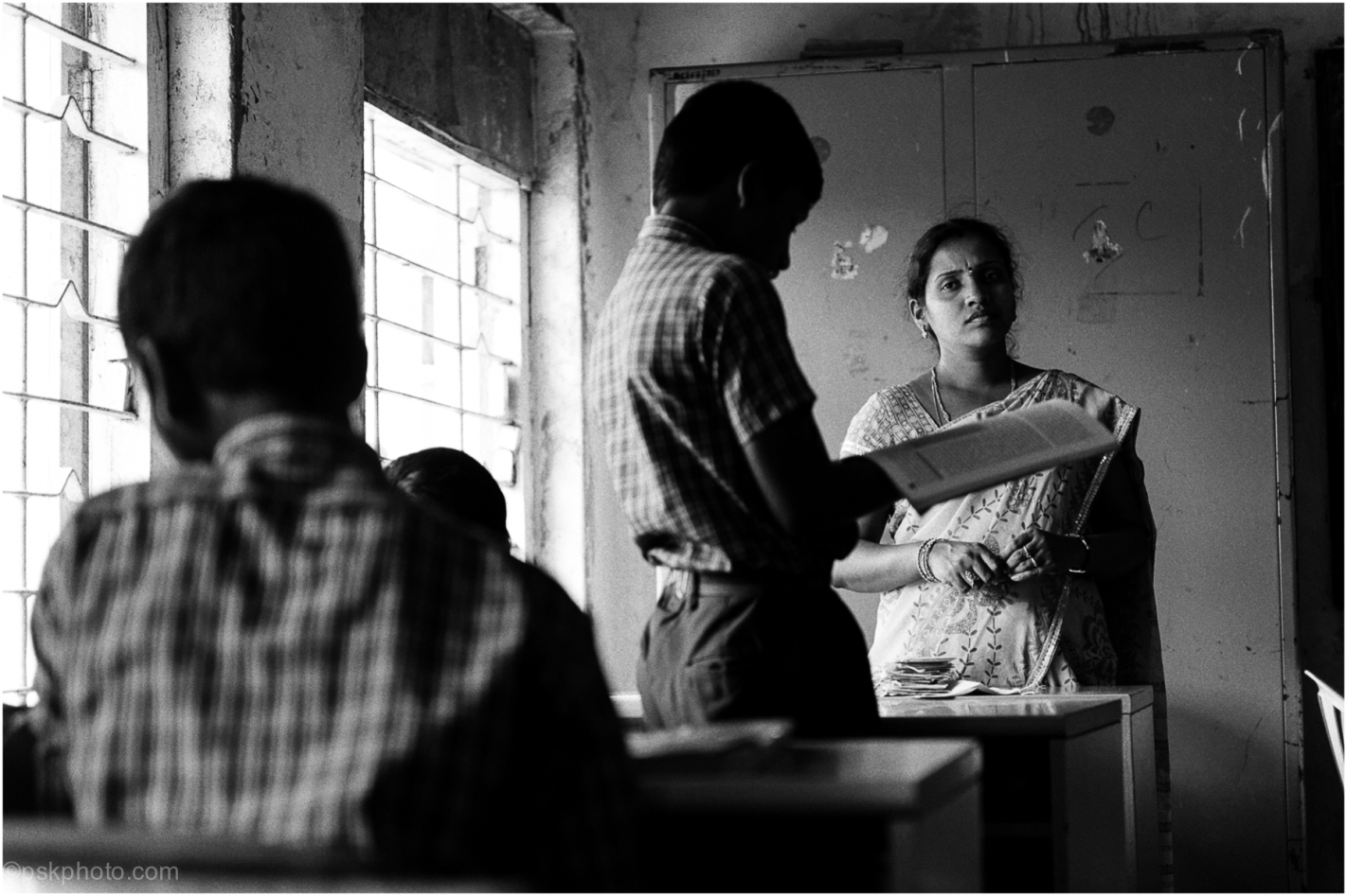 After a long tiring schedule of lessons, Miss is about ready for the bus home. IDPL School, Telangana, India, 2014
