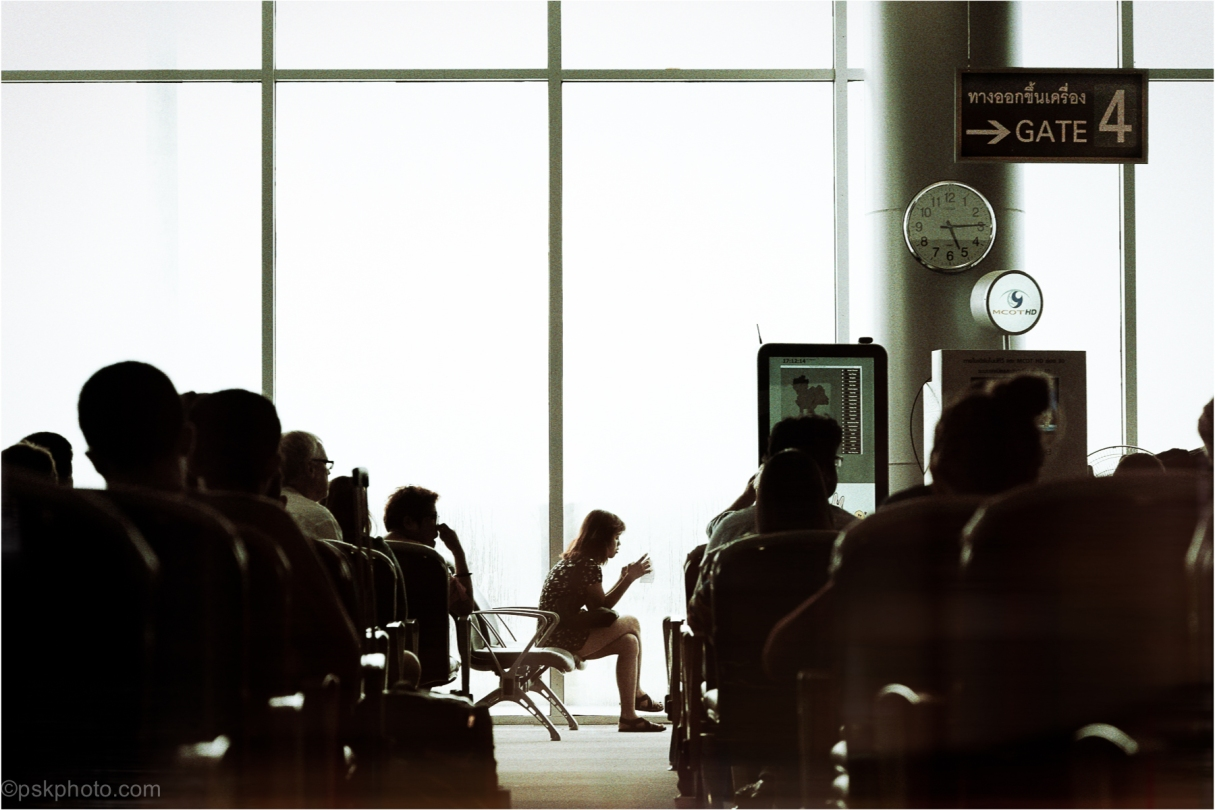 Waiting for a flight back to Bangkok at Gate 4, Terminal 2, Krabi International Airport. A beautifully 1960's Building.